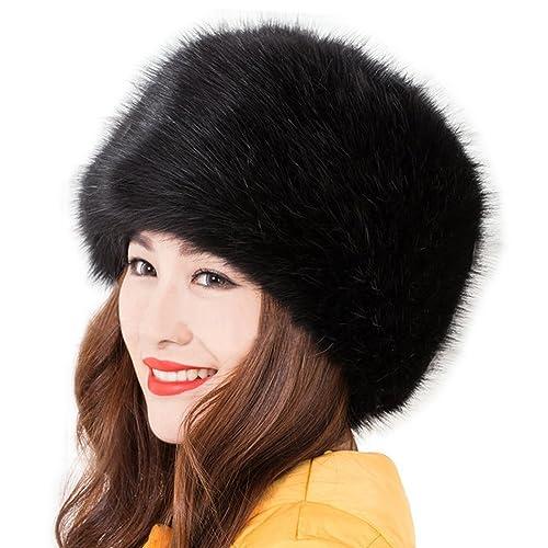Kafeimali Women s Faux Fox Fur Russian Cossack Ski Christmas Caps Cable  Knit Beanie 79f922f92ad