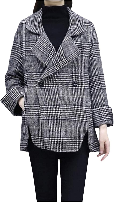 TaoNice Womens Plaid Pattern Blazer Turn Down Collar Wool Blend Overcoat Trench Coat