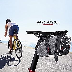 Docooler 19 * 11 * 10.5 cm Bolsa de Sillín de Bicicleta, Bolsa Tija Sillín de Ciclismo, Repelente de Agua de Montaña de Carrera