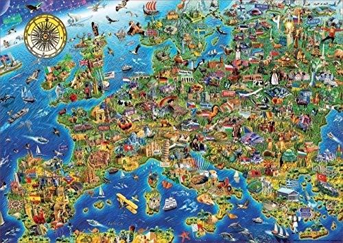 ZYYSYZSH Puzzle in Legno per Adulti Puzzle di Alta Difficoltà 500 Pezzi di Puzzle Decompressione Giocattoli Educativi per Bambini Jigsaw Puzzle,Divertente Mappa dell'Europa