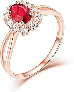 ButiRest - Anello in oro rosa 18 carati con 4 denti taglio ovale 0,55 carati rubino VS e diamante 0,23 carati