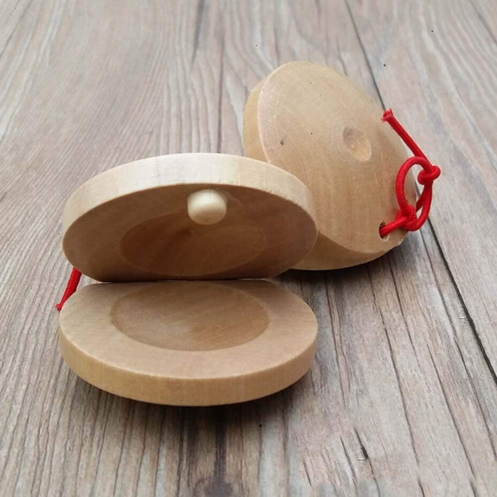 difcuyg5Ozw 1 Pc Wooden Finger Castanet Percussion Instrument,Durable Musical Educational Kids Child Toy Khaki