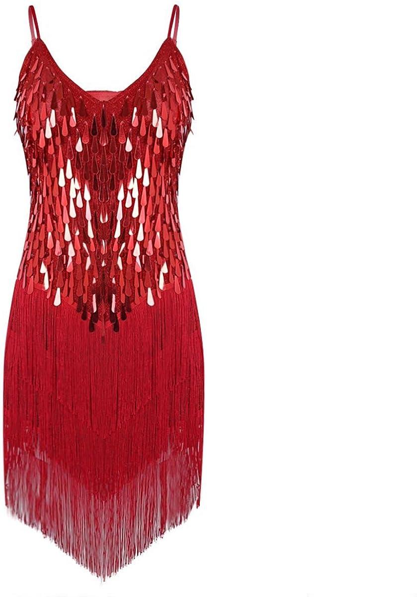 Yeahdor Womens Sparkling Sequins Fringe Tango Latin Dance Dress Flapper Ballroom Party Tassel Dress