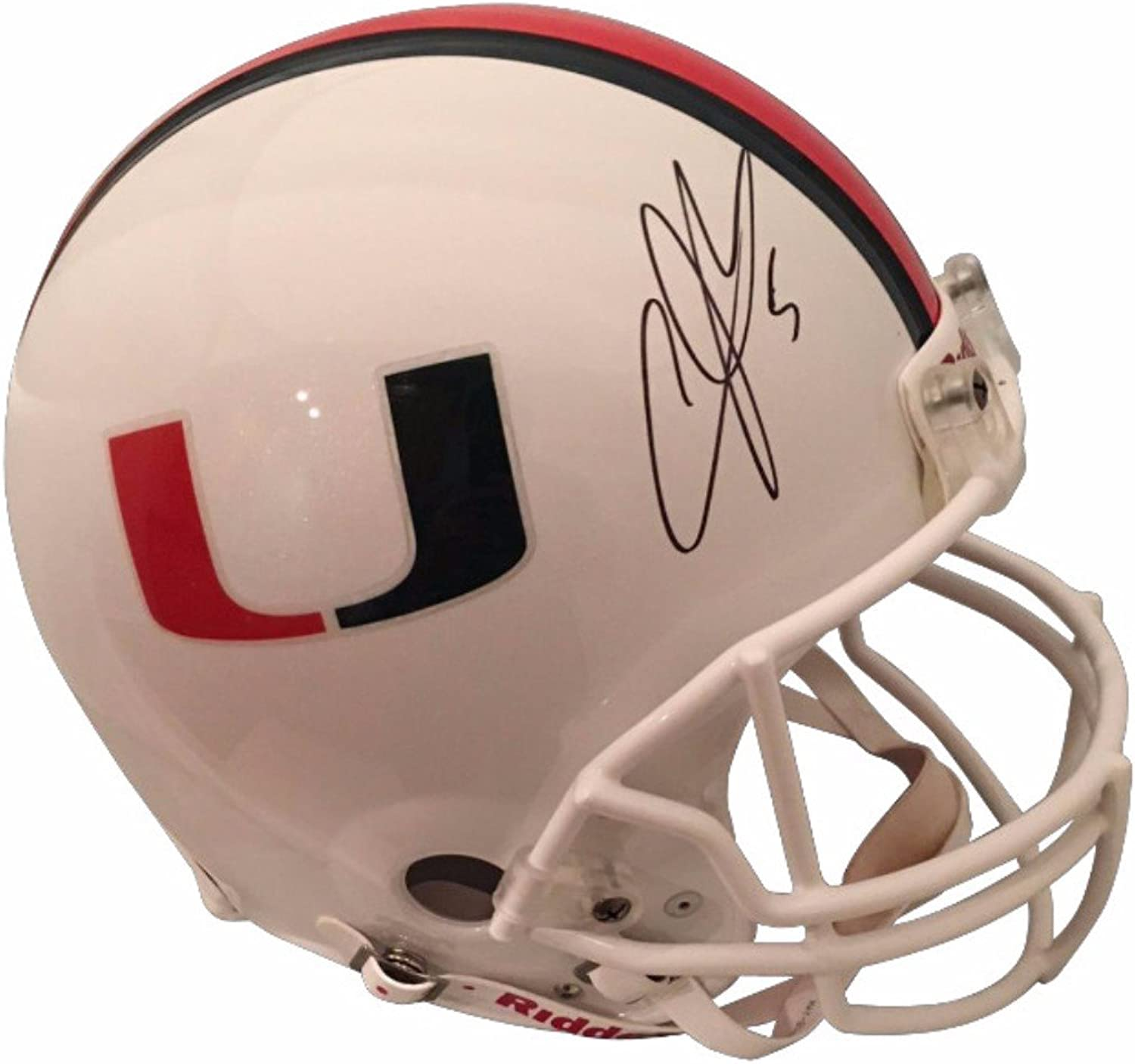 Andre Johnson Autographed Miami Hurricanes Signed Authentic White Football Full Size Helmet JSA COA