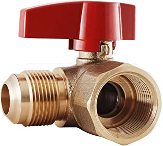 Flextron FTGV-38R12A Gas Valve with 3/8 Inch Outer Diameter Flare x 1/2 Inch FIP Angled Ball Valve Fittings for Gas Connectors with Quarter-Turn Lever Handle, Brass Construction, Corrosion Resistance