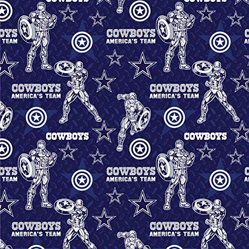 """NFL Marvel Mash Up Fabric Captain America Dallas Cowboys Fabric NFL Football in Navy Blue 44"""" Wide 100% Cotton Fabric by The Yard"""