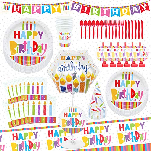 Premium 75Pcs Birthday Party Supplies Set Dinnerware Decorations for 6 Guests Disposable Tablecloth Paper Plates Napkins Cups Hats Blowouts Letter-Banner Balloon Centerpiece Cutlery Food Safe