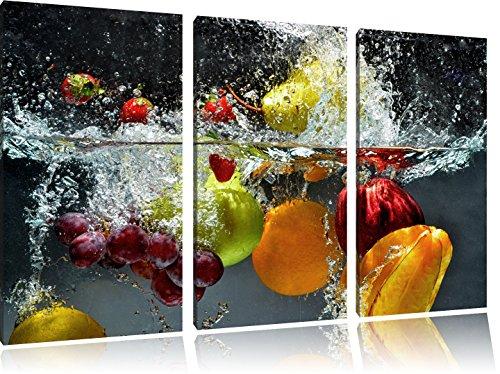 Pixxprint Frutta Cadere in Acqua Stampa su Tela 3 Parti Artistica murale