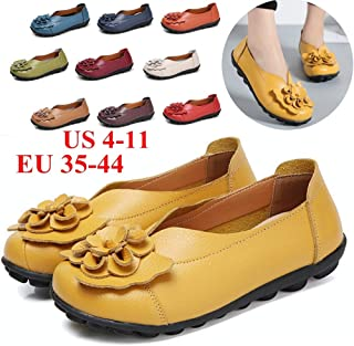Spring/Summer Women Comfortable Flower Flat Shoes Four Season Casual Leather Shoes (20Choices)(Blue,US8.5-EU39)