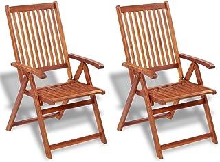 Tidyard Juego de 2 Sillas Plegables de Jardín Exterior con 5 Posiciones para Jardín Patio o Balcón,Madera de Acacia 57x69x111cm