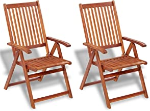 Festnight Outdoor Dining Chairs, Garden Folding Chair, Outdoor Furniture Seat, 2 pcs Garden Foldable Wooden Chairs