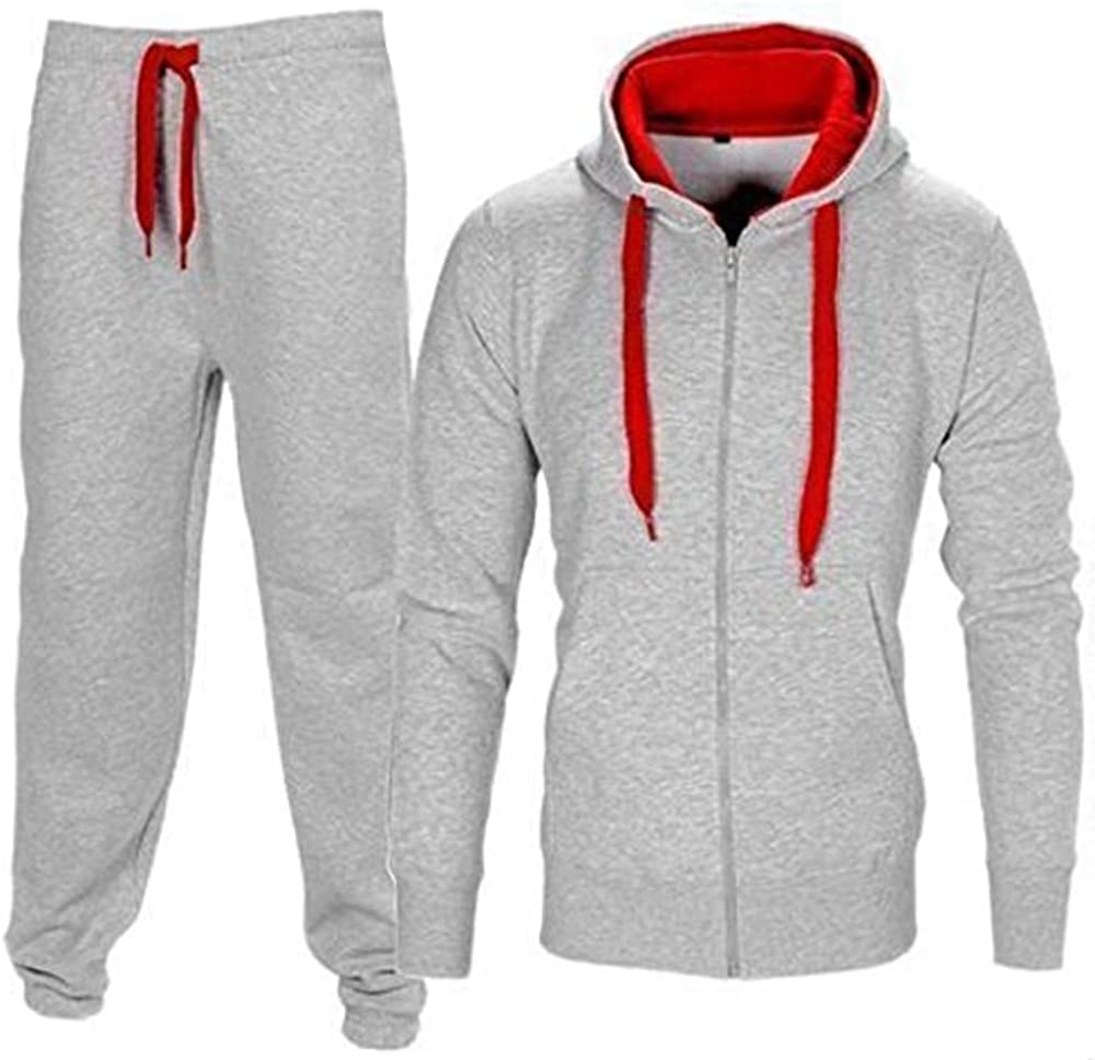 Men/'s Tracksuit Fleece Sweatshirt Hoodie Thermal Sportsweart Set 2Pcs Jogger Set