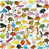 Pack de 78 Figurines Animaux Marins. Mini jouets créatures de la mer en plastique par ValeforToy. Jeu d'apprentissage d'animaux sous-marins pour garçons, filles, enfants. Cadeau et récompense