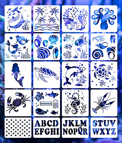 20Pcs Painting Stencils Set, Sea Ocean Creatures & American Flag Star & Alphabet Letters Templates, Reusable Plastic Drawing Stencils for DIY Crafts Scrapbooking Painting on Wood, Floor, Wall