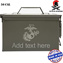 Tactical Overlord Personalized Military Ammo Can – Indoor Outdoor Military Army longterm Survival Box with U.S. Marine Corps Semper Fidelis Laser Engraving