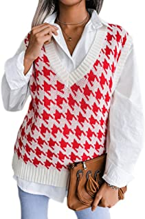 Women Houndstooth Plaid Knitted Sweater Vest V Neck Oversized Knitted Vintage Sleeveless Jumper Super Soft Loose Casual Cl...