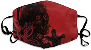 Zombies On Red. Zombies Walking On A Red with Old House, Cemetery Black Tree Mask Mouth Mask Neck Gaiter Mask Bandana Balaclava Easter St. Patrick's Day