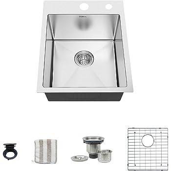 TORVA 15-Inch Drop-in Kitchen Sink, 16 Gauge Stainless Steel Topmount Single Bowl - 10 Inches Deep Bar/Prep Basin