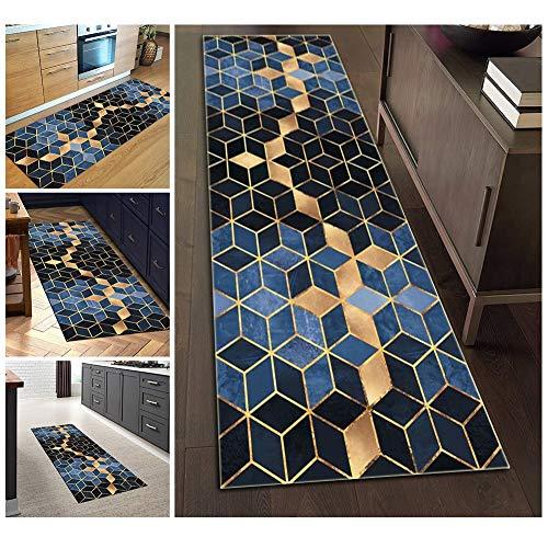 Teppich Läufer Flur 80x200 rutschfest Lange Waschbar for Küche Schlafzimmer Wohnzimmer, Geometrisch Gemusterter Teppich Polyester Verblassen Nicht Anpassbar 7 Farben Erhältlich
