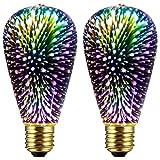 2 Pack Infinity 3D Light Fireworks Effect ST19 LED Light Bulb - 3W 120V Fairy Multicolor Light Bulb Disco Light Bulb Colorful Light Bulb, Party Light Bulb, Stain Glass Light Bulb, Firework Light Bulb