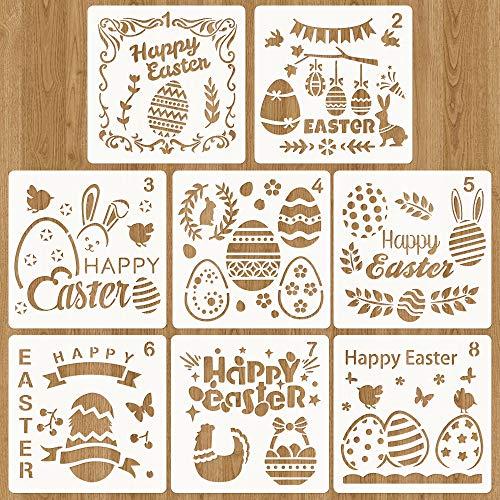 Schablonen Ostern, Ostern basteln, 8 Stück Ostern Schablonen Set Kunststoff Zeichnung Malerei Schablone für Kinder, Ostern deko und ostergeschenke, Schablone für DIY Ostern Scrapbooking (Weiß 1)