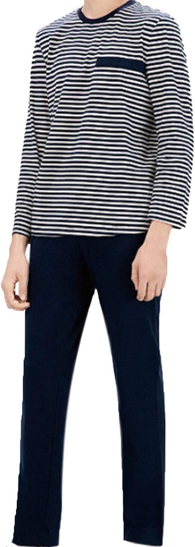 Men'S Pajama Set Long Sleeve Sleepwear For Men Black L