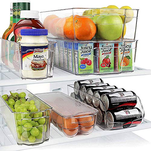 Clear Fridge Bins, Stackable Storage Organizer Containers with Handles for Refrigerator, Freezer, Pantry and Kitchen Cabinets Standard