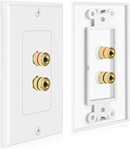TNP 2 Pack Home Theater Speaker Wall Plate Outlet - 1 Speaker Sound Audio Distribution Panel Gold Plated Copper Banana Plug Binding Post Connector Insert Jack Coupler (1 Pair, Single Gang, White)