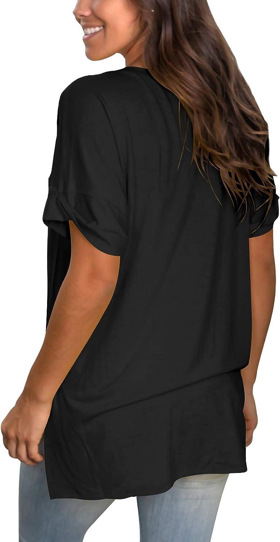 SAMPEEL Women's V Neck T Shirt Rolled Sleeve Side Split Tunic Tops