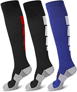 3 Pair Soccer Socks, Sport Knee High Socks Over The Calf Compression Athletic Socks for Mens and Women Running & Training ...