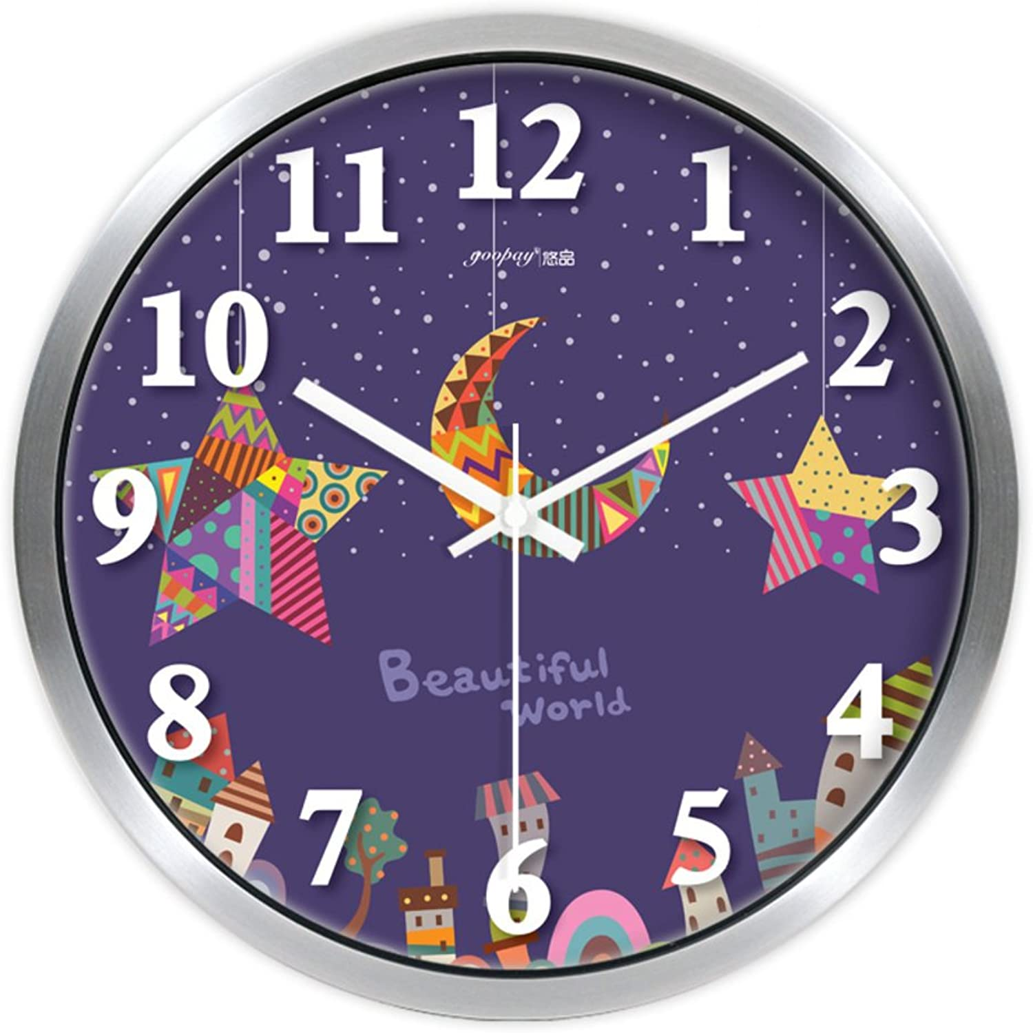 Wall clock bracket clock System clock hgoldloge hgoldlogium quartz clock crystalCartoon creative decorative wall clock  living room clocks bedroom quiet wall charts-B 14inch