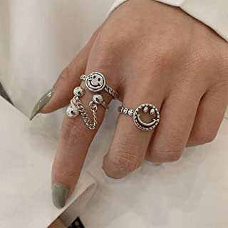 YERTTER 2pcs Retro Smile Face Open Ring S925 Silver Chain Ring Knuckle Ring Finger Ring Chic Open Ring for Women Girls