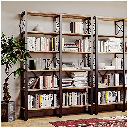 IRONCK Industrial Bookshelf Double Wide 6-Tier, Open Large Bookcase, Wood and Metal Bookshelves for Home Office, Easy…
