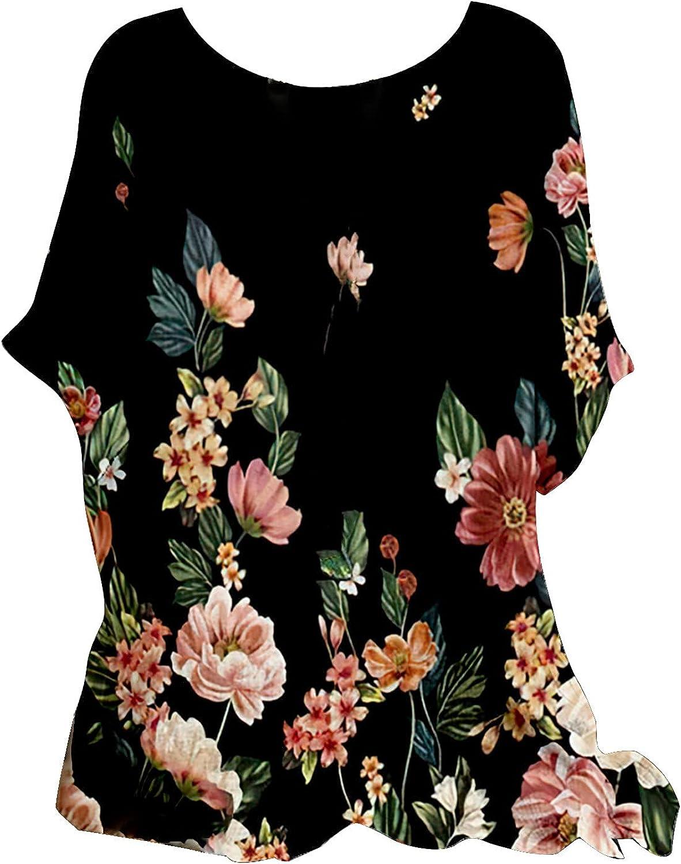 JPVDPA Women's Tunic Tops for Leggings Summer Loose Short Sleeve Shirts Printing Casual Crewneck Blouses