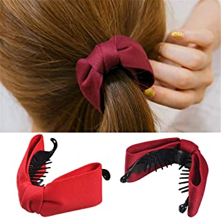 6 Pcs Korean Style Fabric Bow Hair Claw Elegant Solid Cloth Ties Banana Hair Crab Clips Ponytail Hold For Women and Girls