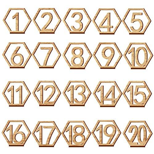 Bestlymood 1-20 números de madera letreros de boda hexagonal número de mesa de madera números de mesa de madera rústica boda compromiso número número de asiento cartel