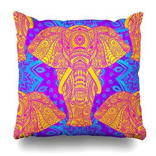 GFGKKGJFD Kissenbezüge, 45,7 x 45,7 cm, indischer Elefant, Mandala, Tier-Überwurf, Kissenbezüge für Schlafzimmer, Haushaltsgeschenke, Geburtstag, für Mama, für Teenager, Mädchen