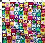Smiley, Smiley Gesicht, Regenbogen, Bunt, Multicolor Stoffe