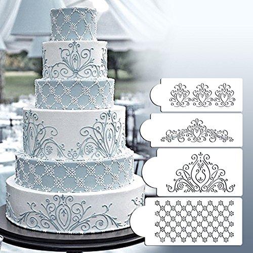 lzn Zuckerfertigkeit Prinzessin Spitze Kuchen Kuchen-Stencils Prinzessin Lace Flexible Craft Stencils 4-teiliges Set
