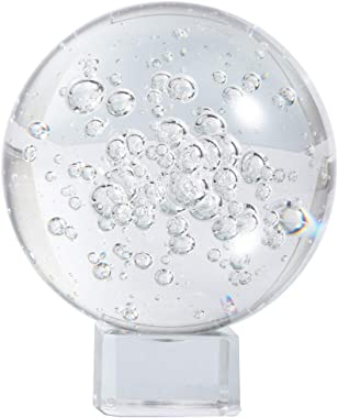 HANUR Crystal bubble ball Clear Crystal Ball 60mm with Free Stand K9 Crystal Glass Ball for Photography Prop