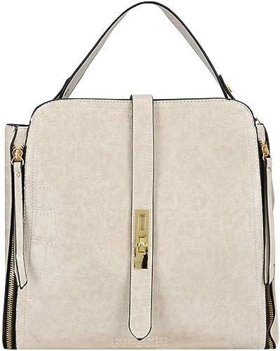 Women s Solid Vegan Leather Alligator Pattern Handbag with strong detachable single handle and detachable shoulder strap