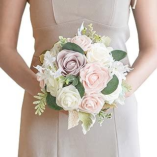Ling's moment Wedding Bouquet for Bride Bridal Bridesmaid Vintage Artificial Flowers Bouquet Home Wedding Decoration