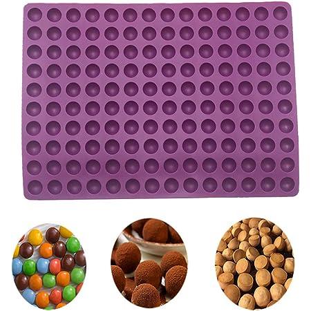 2cm Moule Forme Demi-Sphères 140 Cavités Silicone Terre Cuite - Moule de Cuisson pour Biscuits pour Chiens et friandises Papier de Cuisson - Cuisson Mat - Moule Chocolat (Violet)