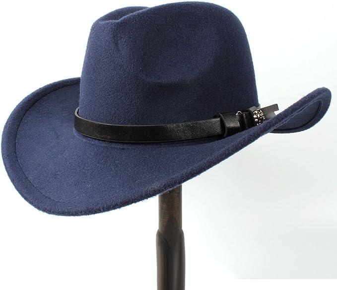 liqun Hombres Mujeres Retro Western Cowboy Riding Hat Cintur/ón De Cuero Gorra De ala Ancha Sombrero De Hombre Sombreros De Paja Visera para El Sol Шапка Мужская Шляпа Соломенная Blanco Talla /Única