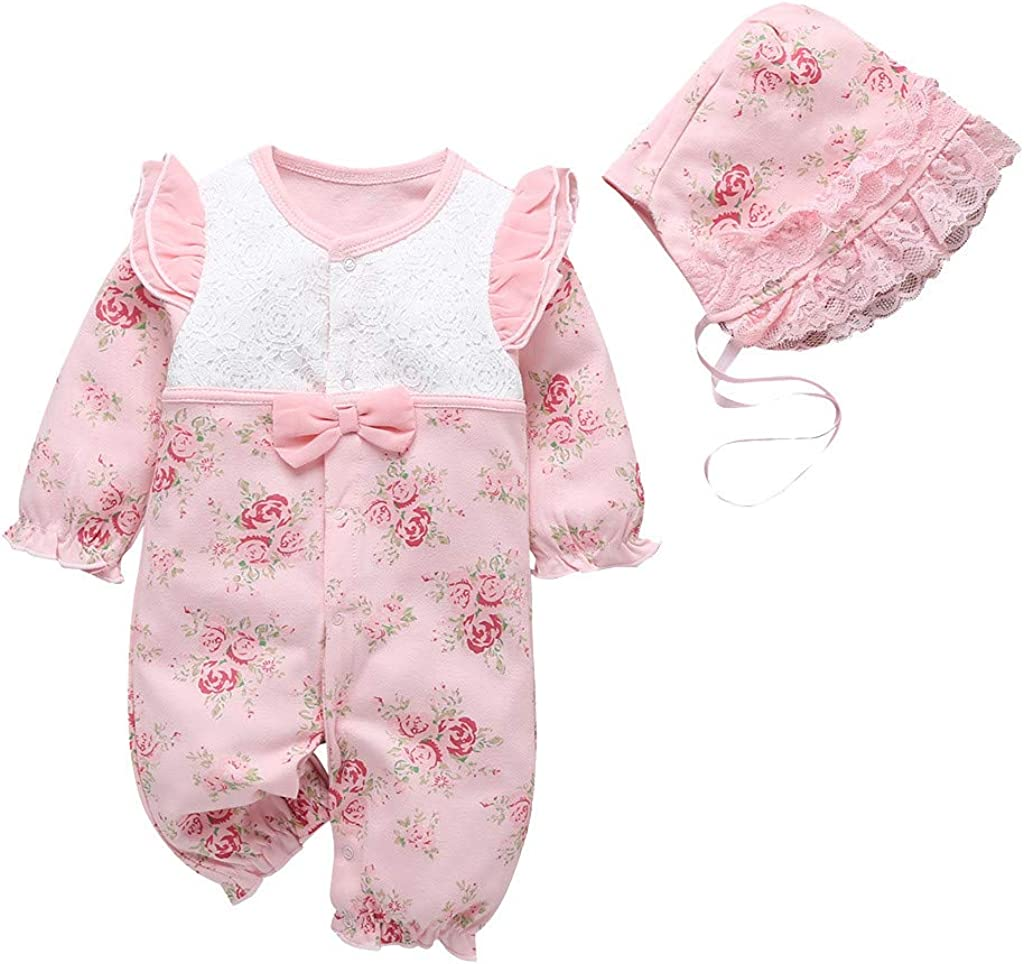 Baby Onesies Outfit Product Cotton Cheap bargain Floral Long Ruffled Ove Romper Sleeve