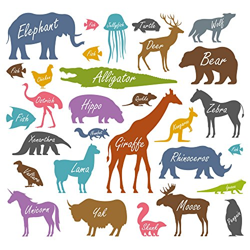Winhappyhome Children's Teaching Animals Art Muraux Stickers pour Kids Room Garderie Kindergarten Décalcomanies Décor Amovibles