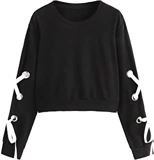 Women's Casual Lace Up Long Sleeve Pullover Crop Top Sweatshirt