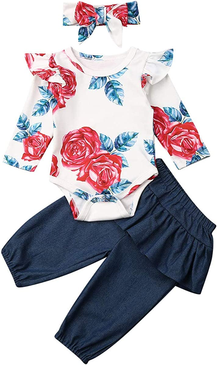 Infant Baby Clothes Girl Newborn Outfits Romper Bodysuit Floral Pants 0-6 Months Baby Girl Clothes Outfit Sets