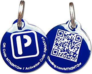 PetDwelling Aluminum QR Code Pet ID Tag Links to Online Pet Profile w/Scanned GPS Location Finder Stamp