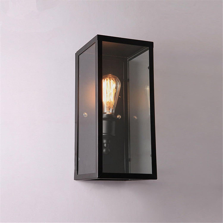 Lucky Fortress Wandleuchte Wandlampe Schmiedeeisen Glas kreative Nachttischlampe schwarz 36  16  16CM